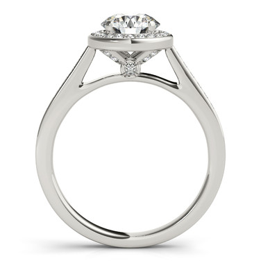 Ferdinand Jewelers round diamond, white gold mount, side view engagement ring