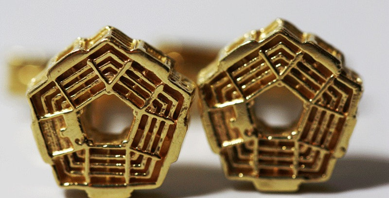 14 Karat Gold Pentagon Cuff Links