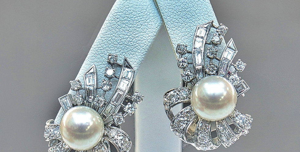 Vintage Pearl and Diamond Bow Earrings