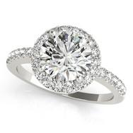 Ferdinand Jeweler round diamond, white gold halo mount, pave engagement ring