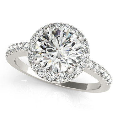 Ferdinand Jeweler round diamond, white gold halo mount, pave engagement ring