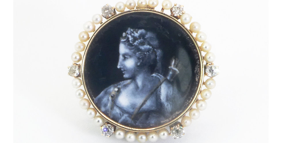19th Century Painted Brooch or Pendant