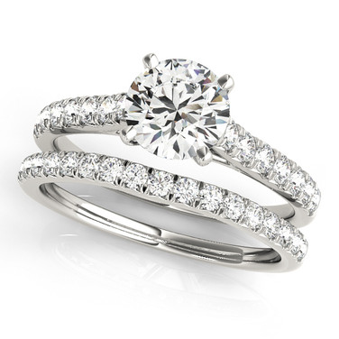 Ferdinand Jewelers round diamond, eternity pave sterling wedding set