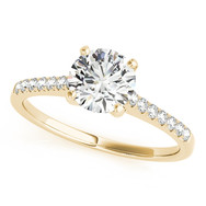 Ferdinand Jewelers round solitaire diamond, pave gold setting engagement ring