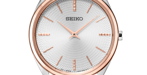 Seiko Analog Quartz Silver and Rose-gold Women's Watch SWR034