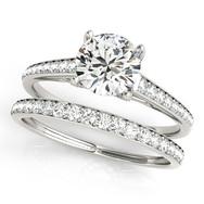 Ferdinand Jewelers round diamond, eternity pave sterling wedding set