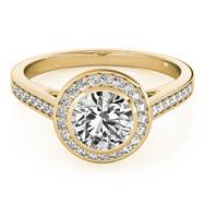 Ferdinand Jewelers round diamond, white gold halo, channel diamond band  engagement ring