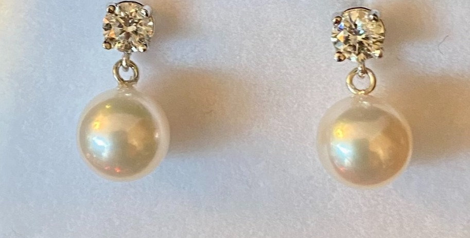 Nonallergenic Diamond and Pearl Drop Earrings