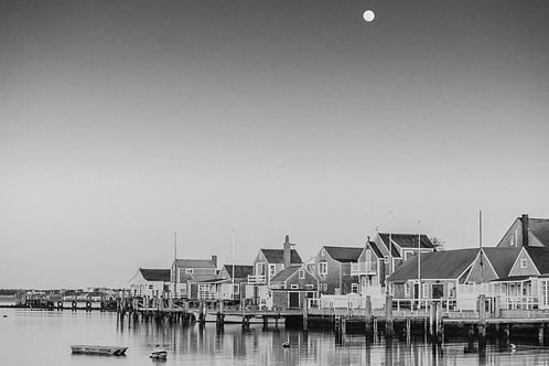 Full Moon over Old North Wharf 2 BW