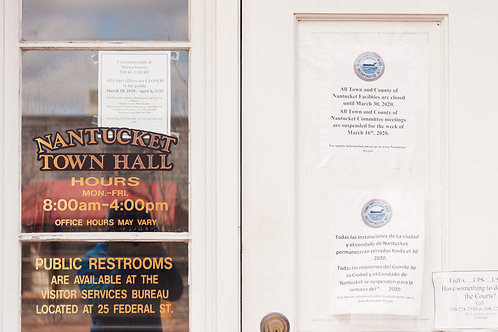Closed Signs on Nantucket Town Hall