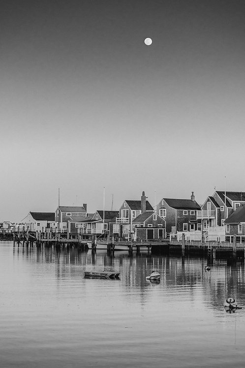 Full Moon over Old North Wharf 1 BW