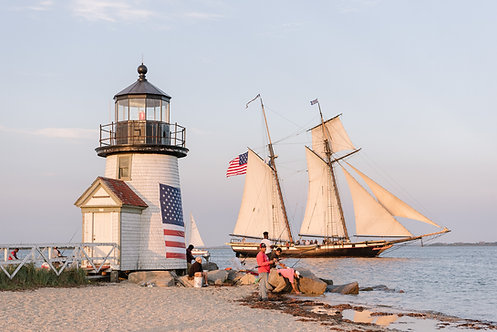 Tall Ship Lynx at Brant Point Lighthouse