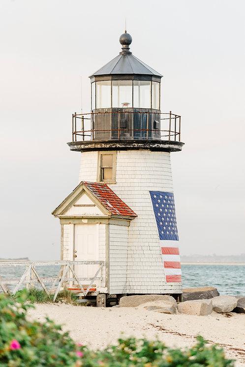 American Flag on Brant Point Lighthouse