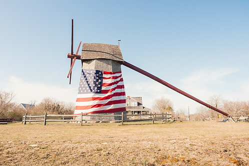 American Flag on Old Mill
