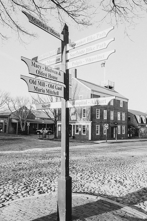 Nantucket Main Street Signs BW
