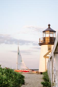 Brant Point Lighthouse Sailboat