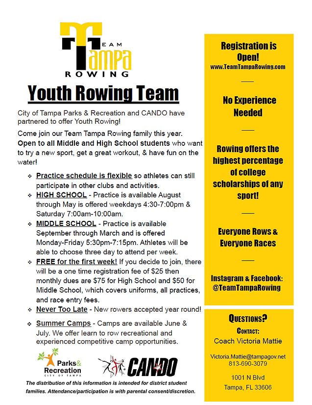 Team Tampa Rowing Flyer
