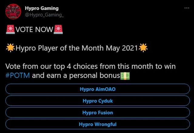 Hypro Player of the Month May 2021 Vote Poll