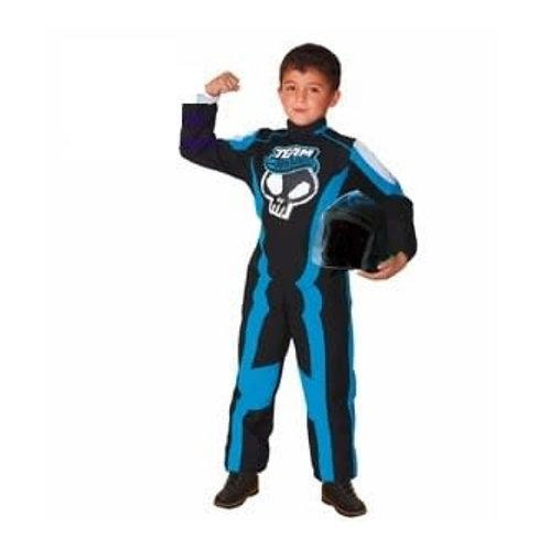 Disfraz Traje Piloto Hotwheels con bolso y Casco Original Azul