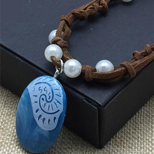 Collar Amuleto Moana Piedra Mágica Con Colgante De Cuero