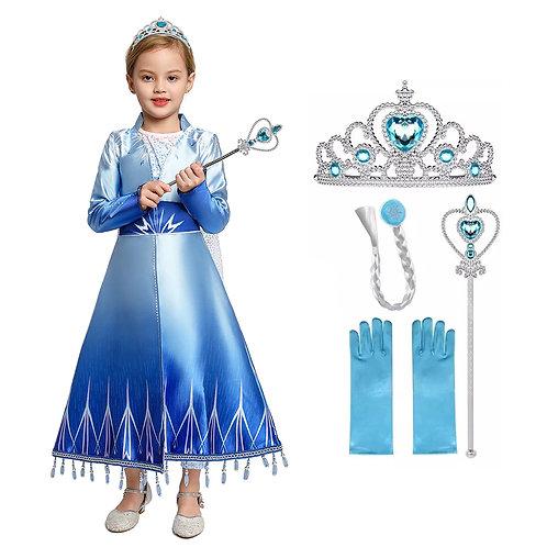 Disfraz Elsa Frozen 2 Deluxe con Corona, Mechon y Varita