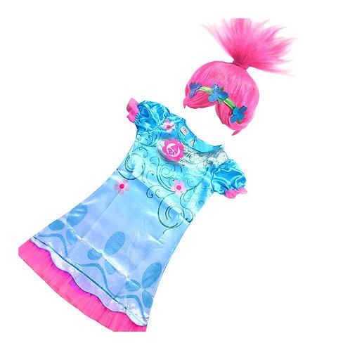 Vestido Disfraz Poppy Trolls + Peluca