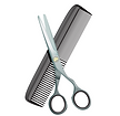 shears and comb hair icon
