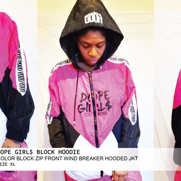 DOPE GIRL$ COLOR BLOCK WIND BREAKERHOODIE
