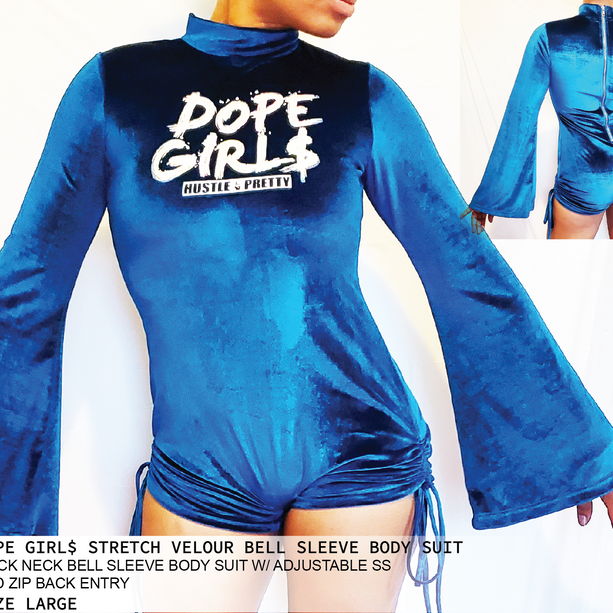 DOPE GIRL$ STRETCH VELOUR BELL SLEEVE BODY SUITg