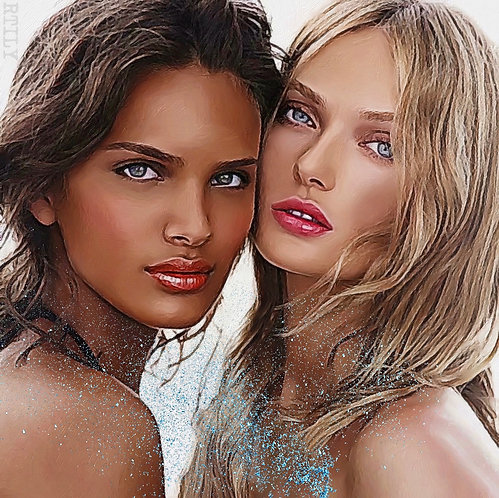 Original artwork of two beautiful nude women
