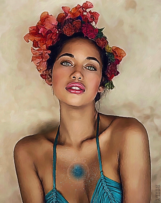 Artwork of Stunning woman with flowers in her hair