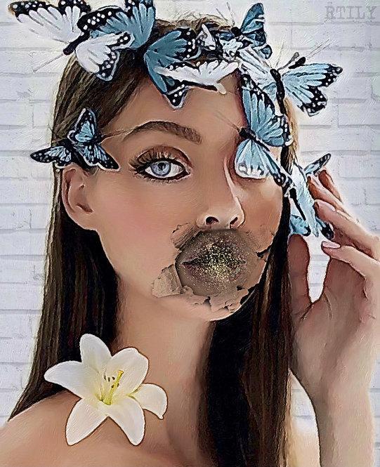 Surrealism female portrait original art