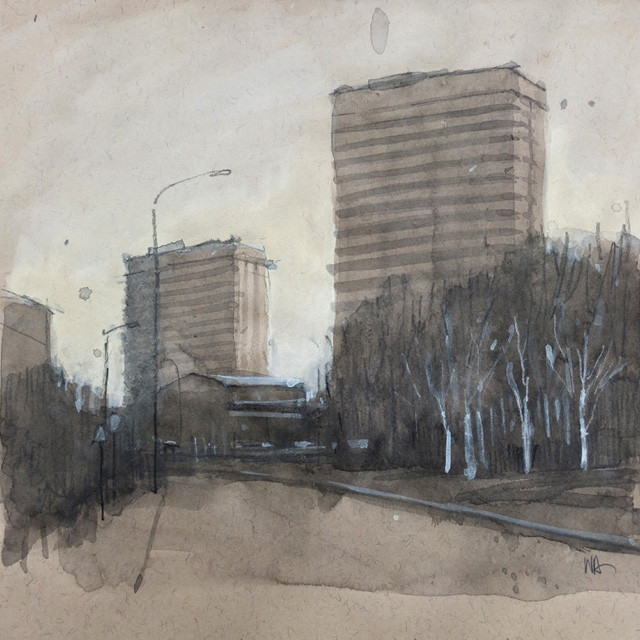 high rises with silver birch