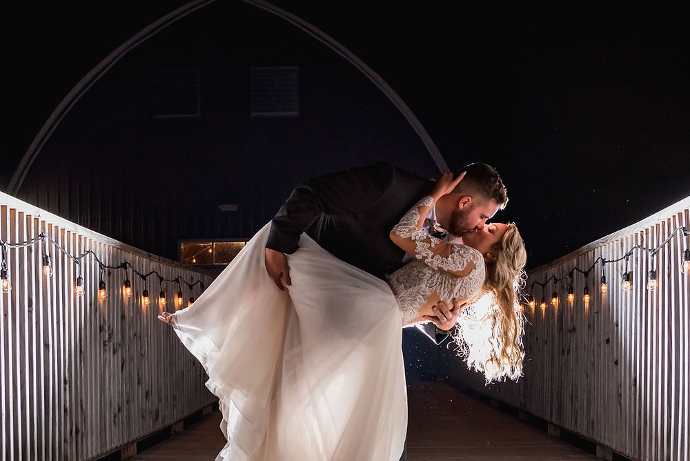 Bride and groom on the skywalk.