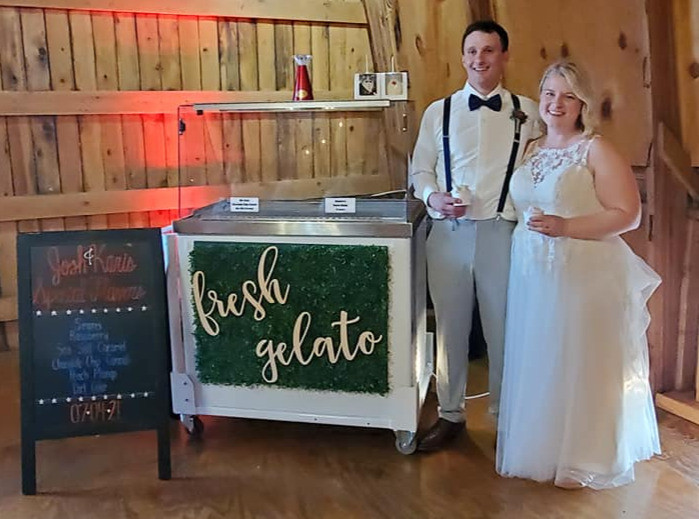Bride and groom had gelato at their wedding. They got it from the Fun Factory Sweet Shoppe that is a small business located in Rhinelander, Wisconsin