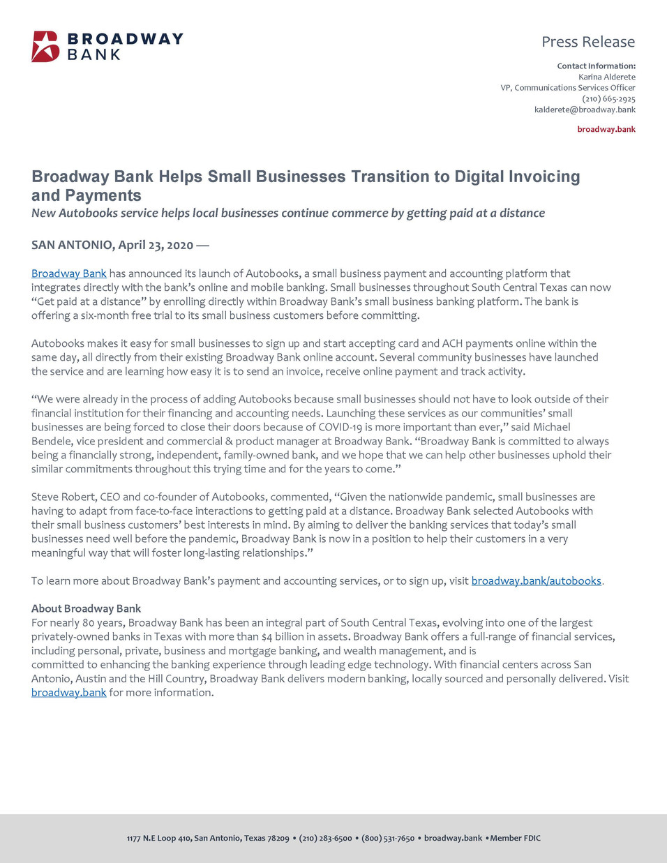 Broadway Bank Launches Autobooks