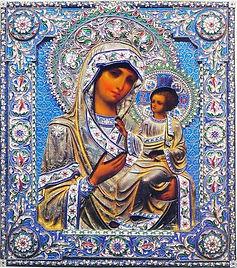 старинная икона 19 века в серебряном окладе с эмалями Иверской Пресвятой Богородицы
