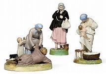 фарфоровые статуэтки 19 века фабрик Гарднер Кузнецов