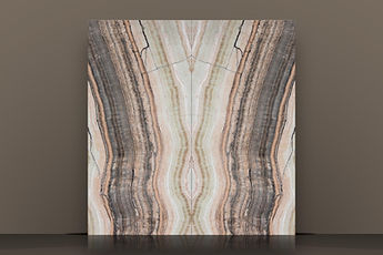 honey grey vein-cut bookmatched backlit polished onyx slab