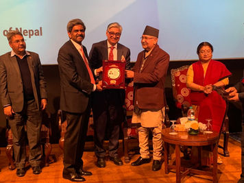 Receiving The Asian Leadership Award From The Prime Minister K P Sharma Oli Of Nepal