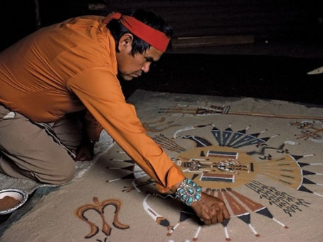 "Navajo Sand Painting: ""Places Where The Gods Come And Go"""