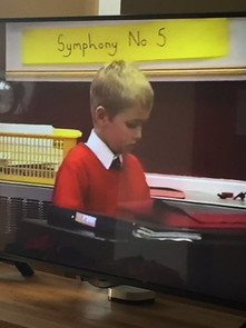 Me covering the piano in assembly because the teacher was off..