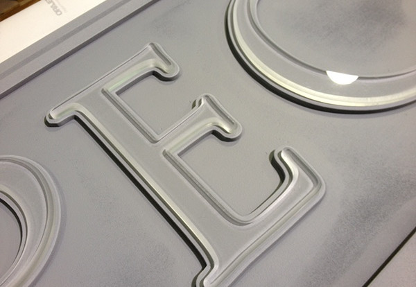 We bevel the edge of the acrylic letters during the cutting process.