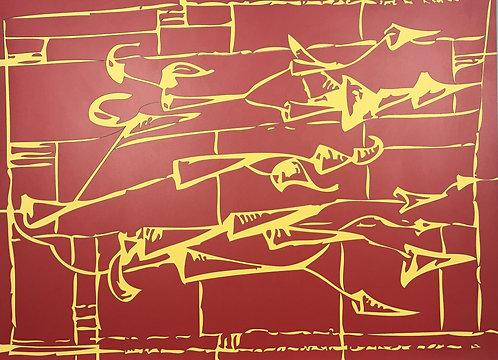 小約翰·西蒙(John F.Simon),紅色/黃色箭頭,在福米卡繪畫系列中,2006年