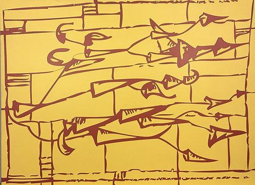 小約翰·西蒙(John F.Simon),黃色/紅色箭頭,在福米卡繪畫中,2006年