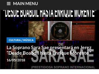 """La Soprano Sara Sae presentará en Jerez """"Desde Boabdil hasta Enrique Morente"""""""