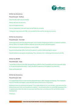 Testimonies from DBC patients 2020-11