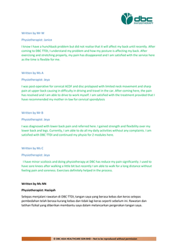 Testimonies from DBC patients 2020-28