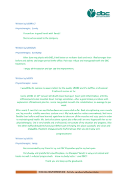 Testimonies from DBC patients 2020-22