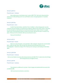 Testimonies from DBC patients 2020-23